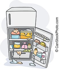Illustration of a Messy Refrigerator Dripping With All Sorts of Fluids
