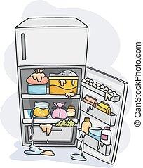 Messy Ref - Illustration of a Messy Refrigerator Dripping...