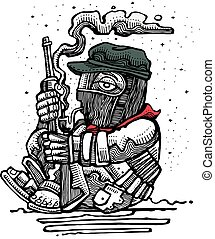 Illustration of a mexican zapatist soldier with rifle