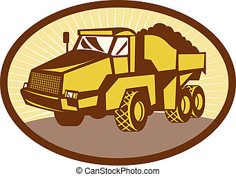 illustration of a mining Tipper dumper dump truck or lorry...