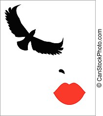 illustration of a model with red lips and the eyelashes in the shape of a bird