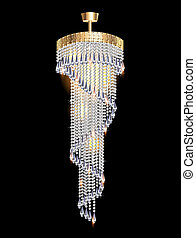 modern chandelier with crystal pendants - illustration of a...