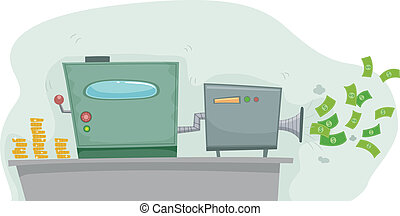Money Making Machine - Illustration of a Money Making...