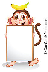 Illustration of a monkey with a banana above his head holding an empty whiteboard on a white background
