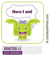 Illustration of a monster saying here i am