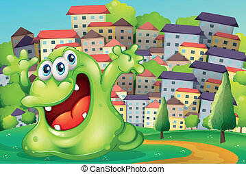 Illustration of a monster shouting for joy at the hilltop across the tall buildings