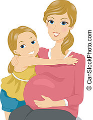 Mother and Daughter - Illustration of a Mother and Daughter...