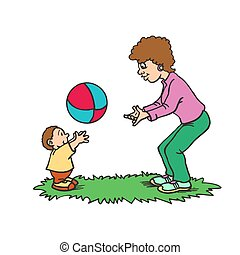 Illustration of a Mother Playing with ball Her Son. happy mothers day