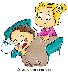 Mother Putting Her Child to Bed - Illustration of a Mother...
