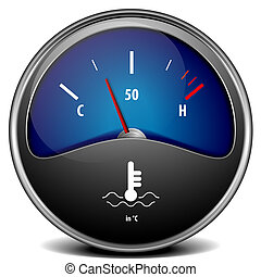 temperature gauge - illustration of a motor temperature ...