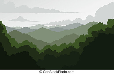 Illustration of a mountain landscape. Shows a view of the rolling Blue Ridge Mountains fading in the distance.