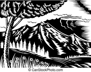 illustration of a mountain scene with tree and clouds done in retro woodcut style.