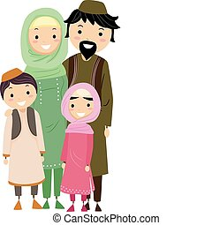 Muslim Family - Illustration of a Muslim Family