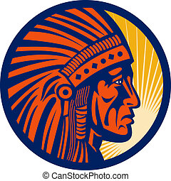 native american indian chief warrior side view - ...
