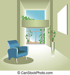 illustration of a natural room with chair