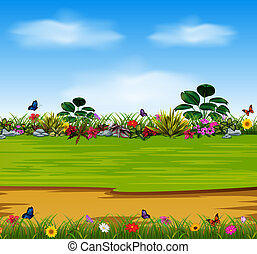 a nature scene with the beautiful garden flowers