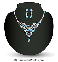 of a necklace and earrings with blue jewels