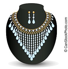 illustration of a necklace and earrings with pearls