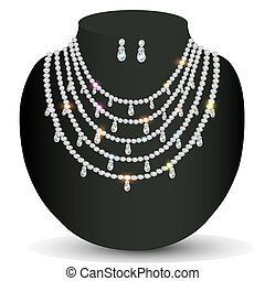 of a necklace and earrings with white precious stones