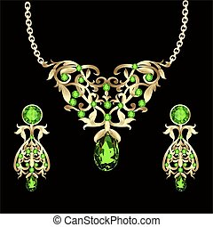 illustration of a necklace with emeralds and precious stones and earrings