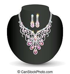 illustration of a necklace with her wedding with pink precious stones