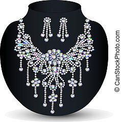 of a necklace with her wedding with precious stones