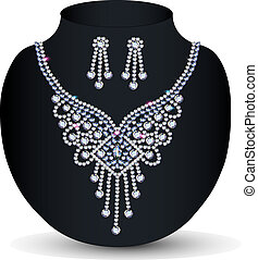 necklace with her wedding with precious stones