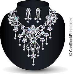 illustration of a necklace with her wedding with precious...