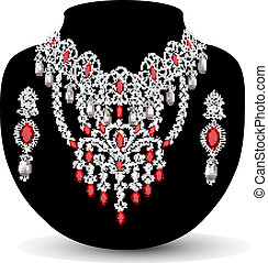of a necklace with her wedding with red precious stones