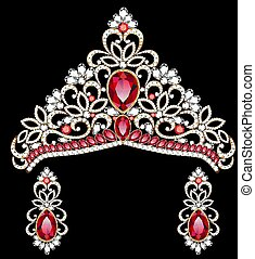 illustration of a necklace with her wedding with red, ruby precious stones