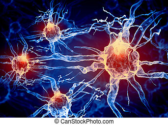 Illustration of a nerve cell on a colored background with ...