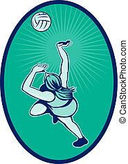 Netball player rebounding jumping for ball