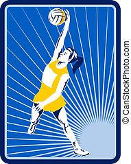 Netball player rebounding jumping