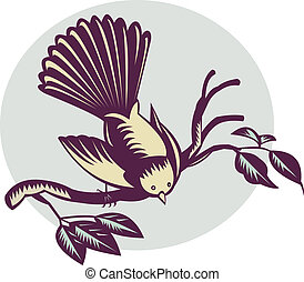 illustration of a New Zealand fantail bird on a branch done in retro woodcut style.