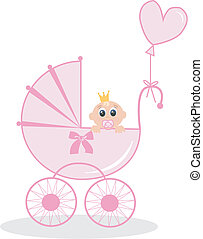 newborn baby girl - illustration of a newborn baby girl with...