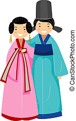 Korean Couple - Illustration of a Newlywed Korean Couple