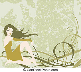 illustration of a nice sitting girl with a khaki grunge background