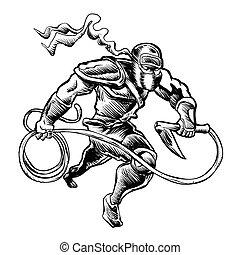 illustration of a ninja - hand drawn Sketchy illustration of...