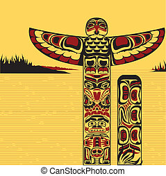 Illustration of a north American totem pole - vector...