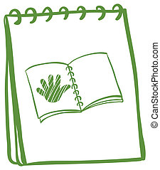 Illustration of a notebook with a sketch of a book with a hand at the cover page on a white background