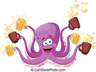 octopus with beer