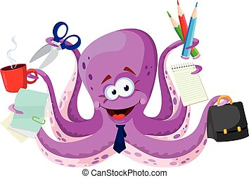 octopus with office supplies - illustration of a octopus...