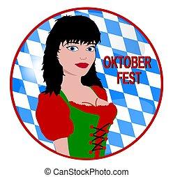 oktoberfest button - illustration of a oktoberfest button