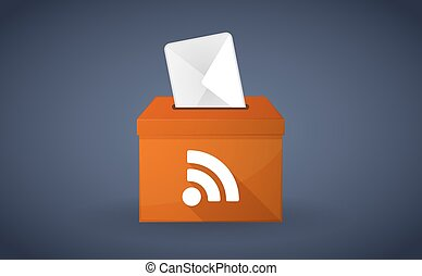 Orange ballot box with a rss sign