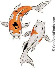 Koi Fish - Illustration of a Pair of Colorful Koi Fish...