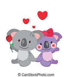 illustration of a pair of koala huddled together