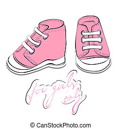 Illustration of a pair pink shoes