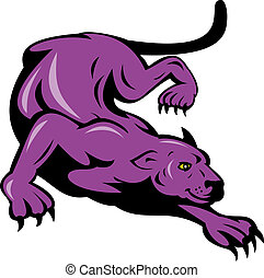panther prowling - illustration of a panther prowling...