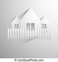 Illustration of a paper house isolated on light background.