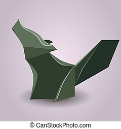 Illustration of a paper origami wolf. Paper Zoo. Vector element for your design
